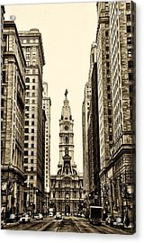 View Of Cityhall From Broad Street In Philadelphia Acrylic Print by Bill Cannon