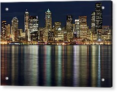 View Of Cityscape At Night Acrylic Print by Stephen Kacirek
