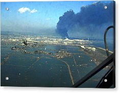 View Of Destroyed Sendai Japan On March Acrylic Print by Everett