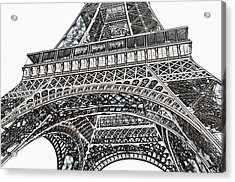 View Of Eiffel Tower First Floor Deck Paris France Colored Pencil Digital Art Acrylic Print