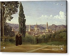 View Of Florence From The Boboli Gardens Acrylic Print by Jean Baptiste Camille Corot