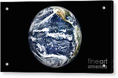 View Of Full Earth Centered Acrylic Print by Stocktrek Images