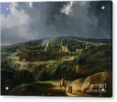 View Of Jerusalem From The Valley Of Jehoshaphat Acrylic Print by Auguste Forbin
