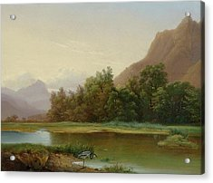 View Of Le Bouveret Acrylic Print by Alexandre Calame