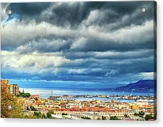 View Of Messina Strait Sicily With Dramatic Sky Acrylic Print