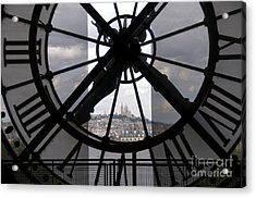 View Of Montmartre Through The Clock At Museum Orsay.paris Acrylic Print