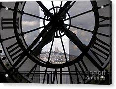 View Of Montmartre Through The Clock At Museum Orsay.paris Acrylic Print by Bernard Jaubert