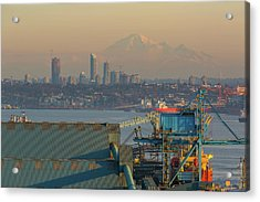 View Of Mount Baker And Vancouver Bc At Sunset Acrylic Print