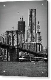 View Of One World Trade Center And Brooklyn Bridge Acrylic Print by Matt Pasant