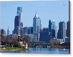 View Of Phliadelphia From West River Drive. Acrylic Print by Bill Cannon