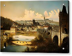 View Of Prague With The Charles Bridge Crossing The Vitava River Acrylic Print
