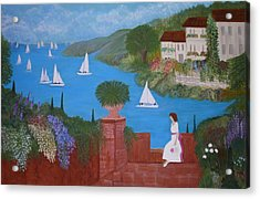 View Of Sailboats Acrylic Print by Anke Wheeler