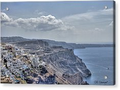 View Of Santorini Acrylic Print by CR  Courson