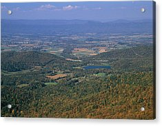 View Of Shenandoah Valley And The Town Acrylic Print by Raymond Gehman