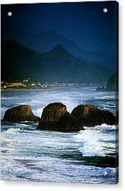 View Of Storm Over Cannon Beach From Acrylic Print by Panoramic Images