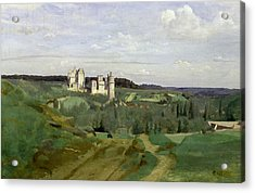 View Of The Chateau De Pierrefonds Acrylic Print by Jean Baptiste Camille Corot