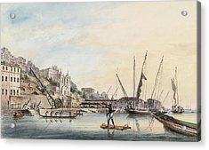 View Of The Dockyard, At Bahia Or San Salvador  Acrylic Print by Thomas L Hornbrook