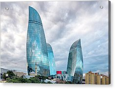 Acrylic Print featuring the photograph View Of The Flame Towes Of Baku by Fabrizio Troiani