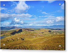 View Of The Mountains And Valleys In Ballycullane In Kerry Irela Acrylic Print by Semmick Photo