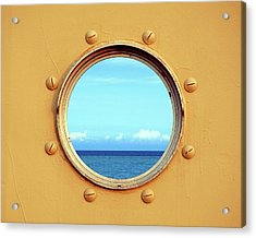 View Of The Ocean Through A Porthole Acrylic Print
