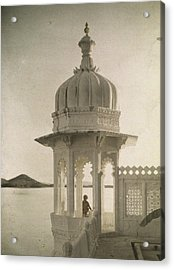 View Of The Palace Of Maharajas Pond Acrylic Print by Gervais Courtellemont