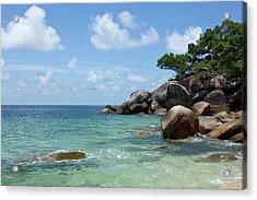 View Of The Sea And A Rocky Coastline Acrylic Print by Caspar Benson