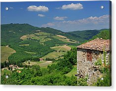 View Of Vineyards And Ancient Hillside House From Radda In Chian Acrylic Print by Reimar Gaertner