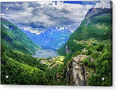 View On Geiranger From Flydalsjuvet Acrylic Print