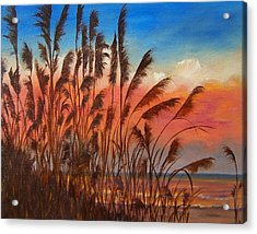 Acrylic Print featuring the painting View Thru Seaoats Sold by Susan Dehlinger