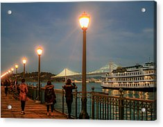 Viewing The Bay Bridge Lights Acrylic Print