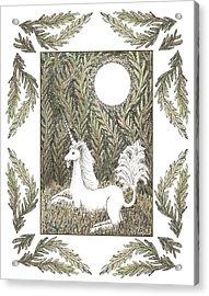 Vigilant Unicorn Acrylic Print by Lise Winne