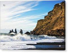 Acrylic Print featuring the photograph Vik Reynisdrangar Beach And Ocean Iceland by Matthias Hauser