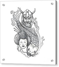 Viking Carp Geisha Head Tattoo Acrylic Print