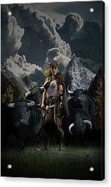 Viking Gefjon Acrylic Print by Andy Renard