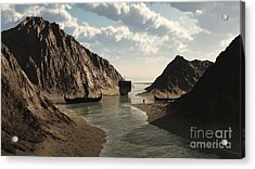 Viking Longships In An Icelandic Inlet Acrylic Print by Fairy Fantasies