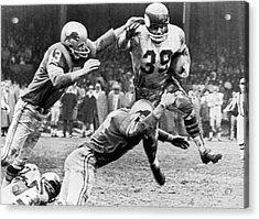 Viking Mcelhanny Gets Tackled Acrylic Print by Underwood Archives