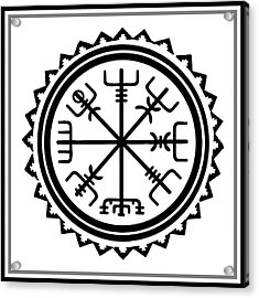 Acrylic Print featuring the digital art Viking Vegvisir Protection Compass by Vagabond Folk Art - Virginia Vivier