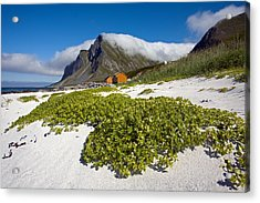 Vikten Beach With Green Grass, Mountains And Clouds Acrylic Print