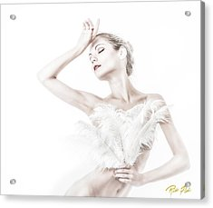 Acrylic Print featuring the photograph Viktory In White - Feathered by Rikk Flohr