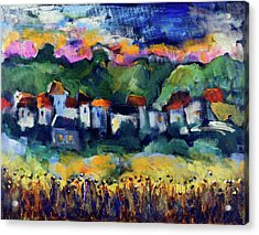 Village At Sunset Acrylic Print by Maxim Komissarchik