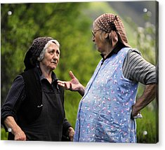 Village Gossip Acrylic Print by Don Wolf