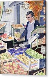 Village Grocer Acrylic Print by Marsha Elliott