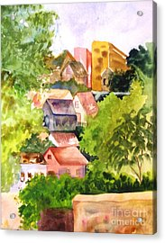 Village Hillside Acrylic Print by Sandi Stonebraker