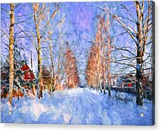 Village In Winter Time Acrylic Print