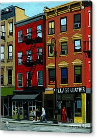 Village Leather - New York Cityscape Acrylic Print by Linda Apple