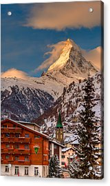 Village Of Zermatt With Matterhorn Acrylic Print
