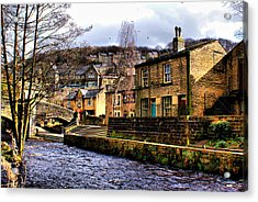 Village On The River Acrylic Print by Jacqui Kilcoyne