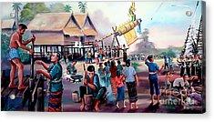 Village Rocket Festival-vintage Painting Acrylic Print by Ian Gledhill