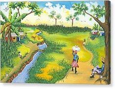 Village Scene Acrylic Print by Herold Alveras