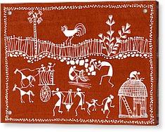 Village Scene In Warli Tribal Art Acrylic Print by Jey Manokaran